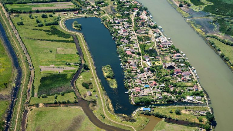 Aerial View Over Mila23 (Mile 23) Village, in the Danube Delta, Romania